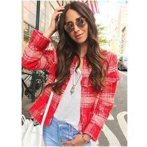 Zara Red Plaid Tweed Ruffle Jacket